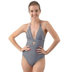 Triangulate Black And White Halter Cut Out One Piece Swimsuit