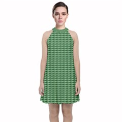 Green Triangulate Velvet Halter Neckline Dress  by jumpercat