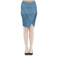 Blue Triangulate Midi Wrap Pencil Skirt