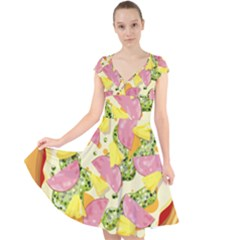 Pizza Clip Art Cap Sleeve Front Wrap Midi Dress by Sapixe