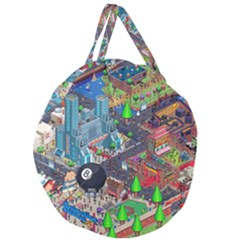 Pixel Art City Giant Round Zipper Tote by Sapixe