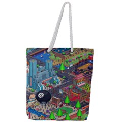 Pixel Art City Full Print Rope Handle Tote (large) by Sapixe