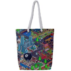Pixel Art City Full Print Rope Handle Tote (small) by Sapixe