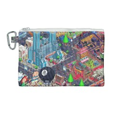 Pixel Art City Canvas Cosmetic Bag (large) by Sapixe
