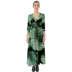 Tropical Florals Button Up Boho Maxi Dress by goljakoff