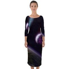 Planets In Space Quarter Sleeve Midi Bodycon Dress