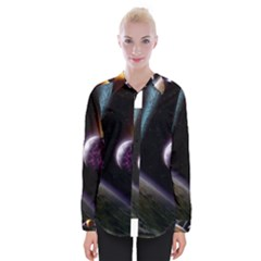 Planets In Space Womens Long Sleeve Shirt