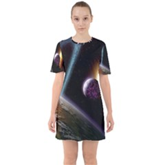 Planets In Space Sixties Short Sleeve Mini Dress