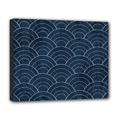 Japan Sashiko Navy Ornament Deluxe Canvas 20  X 16   by goljakoff