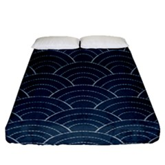 Japan Sashiko Navy Ornament Fitted Sheet (queen Size) by goljakoff