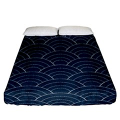 Japan Sashiko Navy Ornament Fitted Sheet (california King Size) by goljakoff