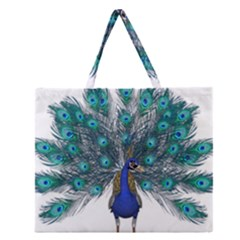Peacock Bird Peacock Feathers Zipper Large Tote Bag