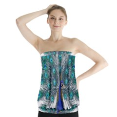 Peacock Bird Peacock Feathers Strapless Top
