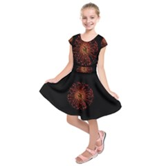 Red Flower Blooming In The Dark Kids  Short Sleeve Dress by Sapixe