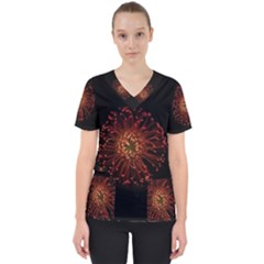Red Flower Blooming In The Dark Scrub Top by Sapixe