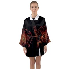 Red Flower Blooming In The Dark Long Sleeve Kimono Robe by Sapixe