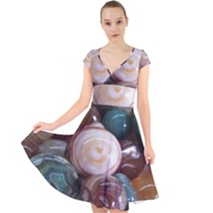 Rain Flower Stones Is A Special Type Of Stone Found In Nanjing, China Unique Yuhua Pebbles Consistin Cap Sleeve Front Wrap Midi Dress