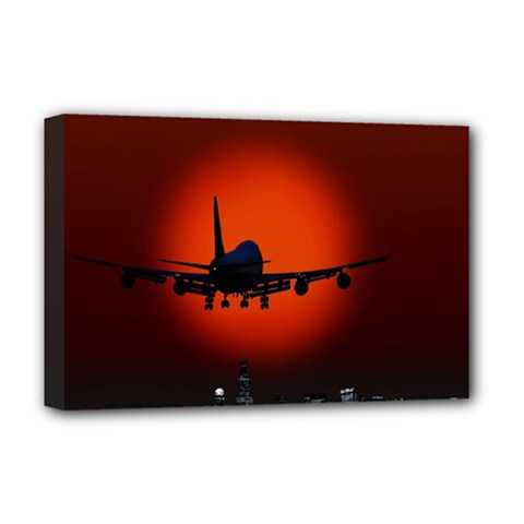 Red Sun Jet Flying Over The City Art Deluxe Canvas 18  X 12