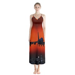 Red Sun Jet Flying Over The City Art Button Up Chiffon Maxi Dress