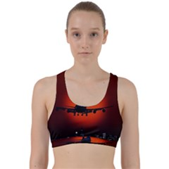 Red Sun Jet Flying Over The City Art Back Weave Sports Bra