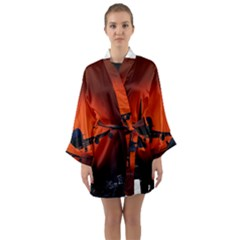 Red Sun Jet Flying Over The City Art Long Sleeve Kimono Robe