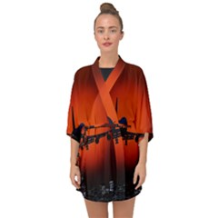 Red Sun Jet Flying Over The City Art Half Sleeve Chiffon Kimono by Sapixe