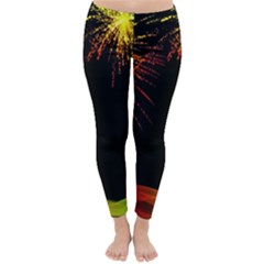 Rainbow Fireworks Celebration Colorful Abstract Classic Winter Leggings by Sapixe