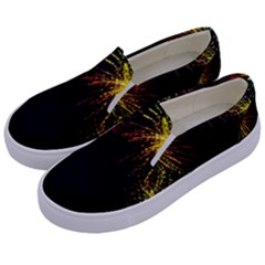 Rainbow Fireworks Celebration Colorful Abstract Kids  Canvas Slip Ons by Sapixe