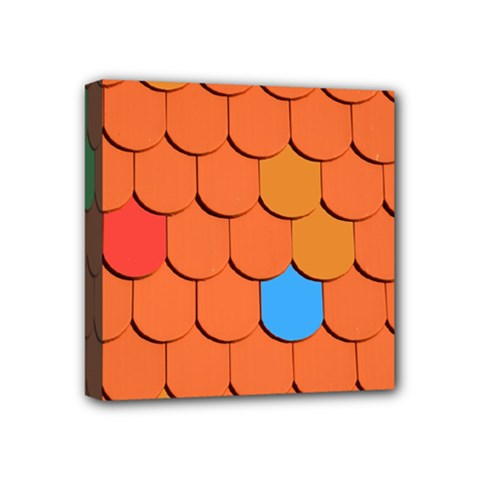 Roof Brick Colorful Red Roofing Mini Canvas 4  X 4  by Sapixe