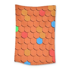 Roof Brick Colorful Red Roofing Small Tapestry