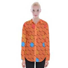 Roof Brick Colorful Red Roofing Womens Long Sleeve Shirt