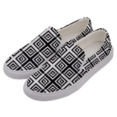 Seamless Pattern Background Black And White Men s Canvas Slip Ons by Sapixe