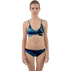 Sea Fans Diving Coral Stained Glass Wrap Around Bikini Set