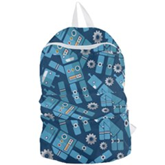 Seamless Pattern Robot Foldable Lightweight Backpack by Sapixe