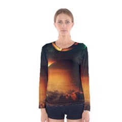 Saturn Rings Fantasy Art Digital Women s Long Sleeve Tee