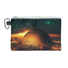 Saturn Rings Fantasy Art Digital Canvas Cosmetic Bag (large) by Sapixe
