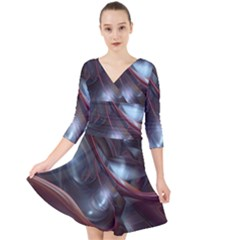 Shells Around Tubes Abstract Quarter Sleeve Front Wrap Dress