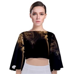 Smoke Fume Smolder Cigarette Air Tie Back Butterfly Sleeve Chiffon Top