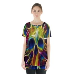 Skulls Multicolor Fractalius Colors Colorful Skirt Hem Sports Top by Sapixe