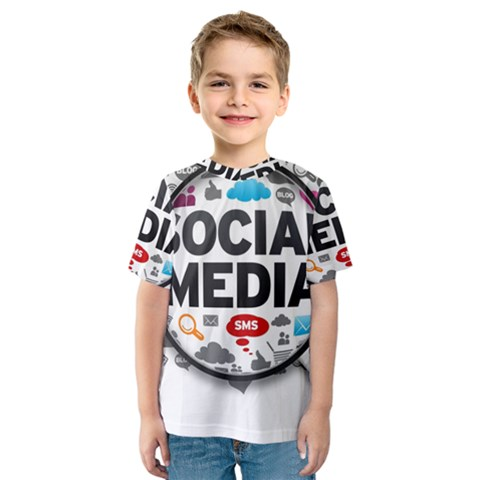 Social Media Computer Internet Typography Text Poster Kids  Sport Mesh Tee by Sapixe