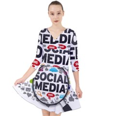 Social Media Computer Internet Typography Text Poster Quarter Sleeve Front Wrap Dress