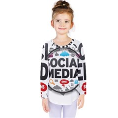 Social Media Computer Internet Typography Text Poster Kids  Long Sleeve Tee by Sapixe