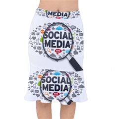 Social Media Computer Internet Typography Text Poster Mermaid Skirt by Sapixe