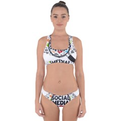 Social Media Computer Internet Typography Text Poster Cross Back Hipster Bikini Set by Sapixe
