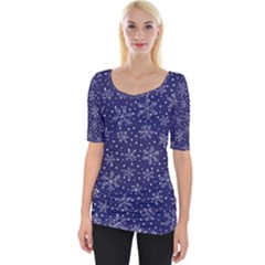 Snowflakes Pattern Wide Neckline Tee by Sapixe