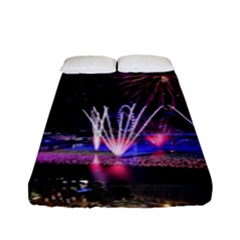 Singapore The Happy New Year Hotel Celebration Laser Light Fireworks Marina Bay Fitted Sheet (full/ Double Size) by Sapixe
