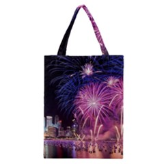 Singapore New Years Eve Holiday Fireworks City At Night Classic Tote Bag by Sapixe