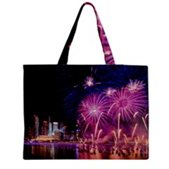 Singapore New Years Eve Holiday Fireworks City At Night Zipper Medium Tote Bag