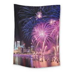 Singapore New Years Eve Holiday Fireworks City At Night Medium Tapestry