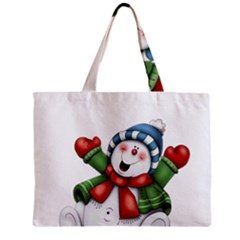 Snowman With Scarf Zipper Mini Tote Bag by Sapixe